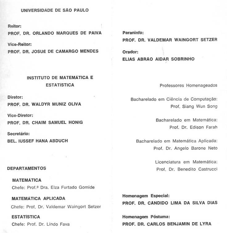 Convite de colação de grau de 1974